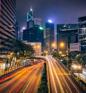 Tree leaves changing color in a beautiful overhead shot of some woods